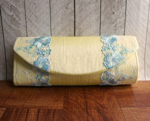 Clearance. Pastel yellow clutch bag, pale yellow silk clutch with cornflower blue flower lace, spring fashion, lace clutch