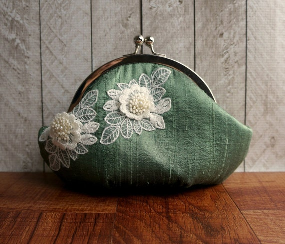Fern green clutch, small clutch purse wristlet, sage green silk clutch with ivory lace flower, personalized clutch, wrist strap