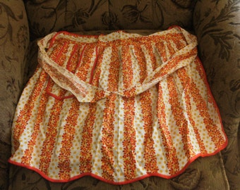 Vintage Orange Striped Pocket Apron