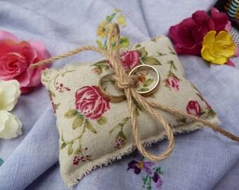 Rustic Rose chintz burlap ring pillow
