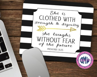 Scripture Mouse Pad-Proverbs Woman-Proverbs 31:25 Mouse Pad-Personalized Mouse Pad-Desk Accessories