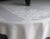 Vintage White Damask Tablecloth Wedding Decor Christmas Dining Formal Dining Any Occasion