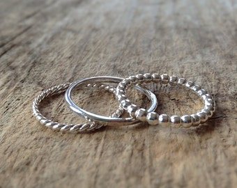 Sterling Silver Ring Set, 3 Rings, Stacking Rings, Stackable Rings, Pattern Rings, Texture Rings, Bohemian Ring, Bohemian Jewelry, Christmas