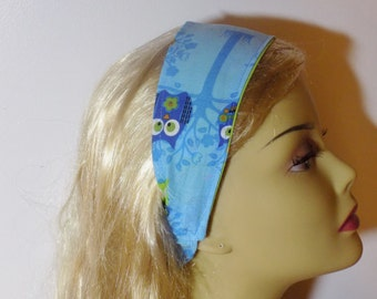 Women's Fabric head band blue owl headband reversible headband headwrap fabric hair accessory  cloth headband fashion headbands flag