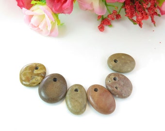 Top Drilled Beach Stones -Medium Pebbles- 6 psc- Organic Rare Beads Big Hole for Jewelry Crafts DIY