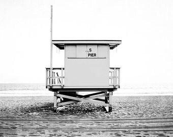 """Black And White Beach Art, Lifeguard Tower Print, Beach Decor , California Beach Decor, Manhattan Beach, Extra Large Wall Art,  """"S Pier"""""""