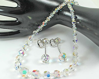 SHERMAN Aurora Borealis Crystal Bead Necklace and Dangle Earrings