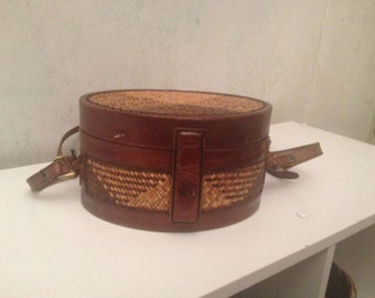 Brown Leather Straw Hardcase Purse