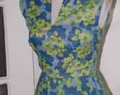 On Hold - 50s Dress, Summer, Full Skirt, Sleeveless, Blue Green Floral, Pleated, Size XS