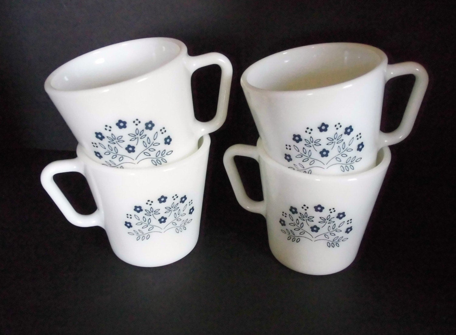 Vintage Pyrex Blue And White Coffee Mugs Beverage Cups Summer
