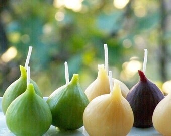 Fig Beeswax Candle ~ Natural / Green / Purple ~ Votive Size ~