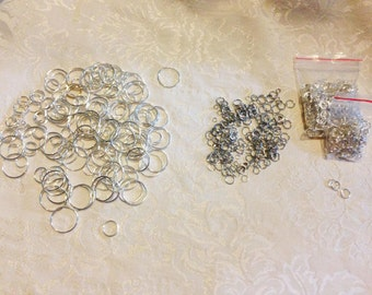 LOT of Silver Plated JUMP RINGS * Assorted Sizes:  6mm, 8mm, 12mm, and 20 mm