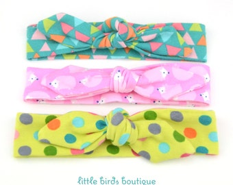 Top Knot Cotton Jersey Headband, Head Wrap, Tie Headband- for all ages Triangles, Hedgehog, Dots