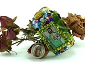 Saint Jude scapular sequined woven embroidered bracelet