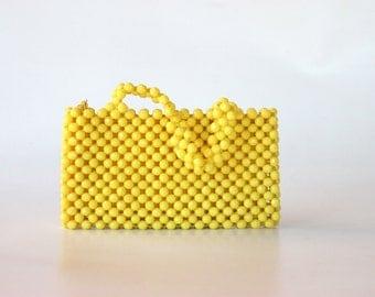 vintage yellow beaded handbag / clutch