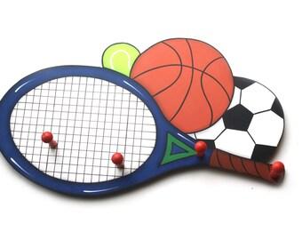 Sports Handpainted  4 peg Coat Rack