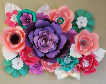 Mixed colors Large paper Flowers wall Decor. Great for Birthdays, Baby shower, Weddings Decorations, House Decor -  Custom colors avai