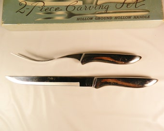 Vintage 1950s 2 Piece Carving Set Stainless Steel Hollow Handle Carving Knife Carving Fork Service Set