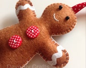 Hand Stitched Felt Gingerbread Man Christmas Hanging Decoration Ornament