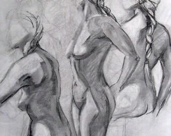 Three Female Figures, charcoal figure drawing, black and white, life drawing, original art, figurative