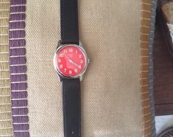 SALE Vintage HMT Red Watch
