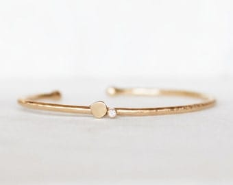 Diamond Cuff - 2mm Gold Petal Cuff - Hammered Gold Diamond Cuff - Eco-Friendly Recycled Gold