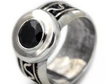 Men silver ring, Black stone ring, Solitary men's ring, Black and silver ring, Filigree, enamel ring, black spinel gemstone, engagement ring