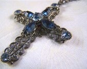 Filigree Cross Pendant Necklace Swarovski Gunmetal