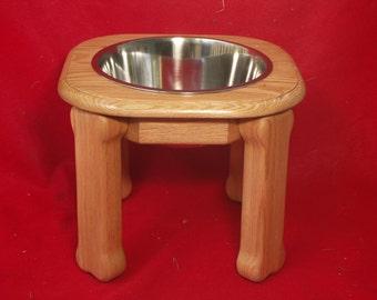 Elevated Large Dog Feeder, Single Bowl, 12 Inchs High, Solid Oak, Five Quart