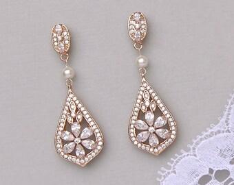 Rose Gold Earrings, Crystal Bridal Earrings, Pink Gold Bridal Jewelry, Vintage Wedding Earrings, PAIGE