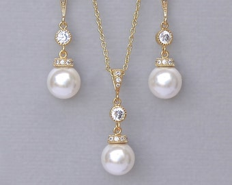 Pearl Bridal Jewelry SET, Gold Necklace and Earrings SET,  Pearl Bridesmaids Jewelry Set, Wedding Jewelry Set, SISSY