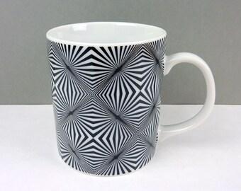 Takahashi Op Art Mug-Angled Lines-San Francisco- Japanese-Coffee Cup-Tea Mug-Optical Illusion-Black and White Porcelain-Mid Century