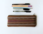 Guatemalan Bag - Pencil Case - HandWoven Fabric - Ikat - Zipper Pouch - Southwestern Makeup Accessory Bag - Back to School Supply