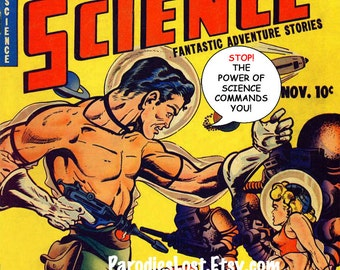 CAPTAIN SCIENCE GEEK Comic Book Remix Print Vintage Cheesecake Beefcake Art