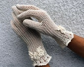 Elegant Natural Lace Gloves - Vintage Style Accessory