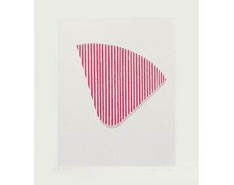 Pink abstract screenprint, original, modern, minimal art by Emma Lawrenson