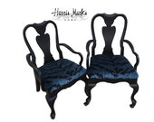 Pair Chairs Vintage Hollywood Regency Queen Ann Black Lacquer Velvet Tiger Blue Le Tigre Asian Palm Beach Chinoiserie