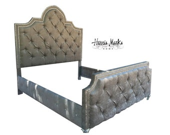 Tufted Bed Crystal Nailhead Rhinestone Glam Trim Upholstered Headboard Crystal Button Velvet King Queen Full Twin BY CUSTOM ORDER