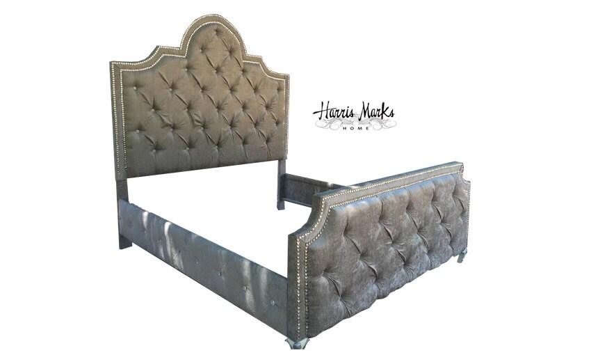 Tufted Bed Crystal Nailhead Rhinestone Glam Trim Upholstered Headboard  Crystal Button Velvet King Queen Full Twin - Rhinestone Headboard Etsy