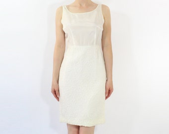 VINTAGE 1950s White Slip Dress Full
