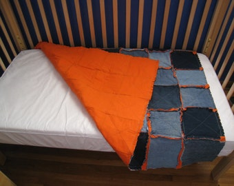 Rag Crib Quilt in Denim and Orange
