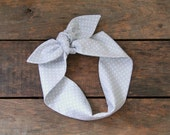 gray and white polka dot headscarf, retro, tie up headband, adjustable, summer and fall fashion, knotted headband, under 15