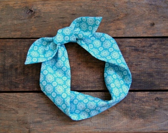 aqua headscarf, retro, tie up headband, adjustable, summer fall fashion, knotted headband, under 15, stocking stuffer