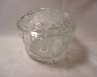 Glass Raised Flower Round Covered Powder or Trinket Dish