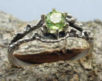 Peridot, Mythological Stone Protector Critters, Hand Crafted Sterling Silver Ring, August Birthstone, handmade, green