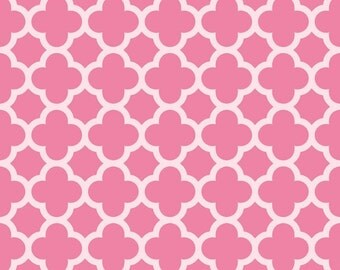 Riley Blake Fabric - 1 Yard of Sparkle Hot Pink Quartrefoil