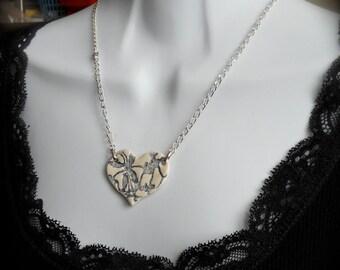 Porcelain Heart Necklace, Handmade, Denim Blue Etched Design, Cottage Chic, Boho, Art Nouveau, Resort, One of a kind.