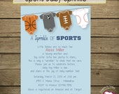 Sports Baby Sprinkle Invitation (Light Blue with Grass)-Printable