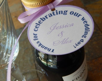 "Wedding Thank You Custom 2"" Favor Tags - For Mini Wine or Champagne Bottles - Engagement - Anniversary - Thank You Gifts (50 tags)"