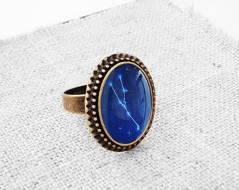 """Get 15% OFF - Handmade Resin """"Taurus"""" Constellation Sign Antique Bronze Plated Oval Adjustable Ring - Labor Day SALE 2017"""